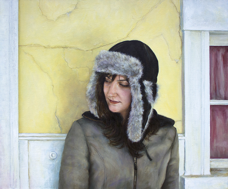 Sophie Mueller stands at the entryway to the Island Theater in Oak Bluffs, in this painting by artist Elizabeth Whelan